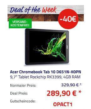 Acer Chromebook Tab 10 D651N-K0PN 9,7 Zoll Tablet, 4GB RAM, 32GB eMMC, Chrome OS, Eingabestift - jetzt 12% billiger