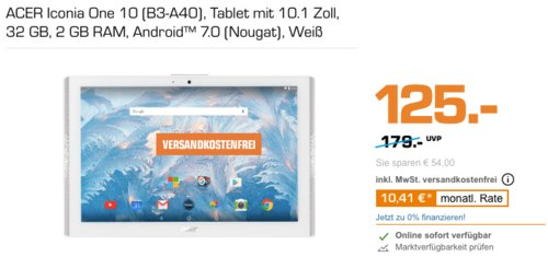 ACER Iconia One 10 (B3-A40) 10.1 Zoll Tablet, weiß - jetzt 17% billiger