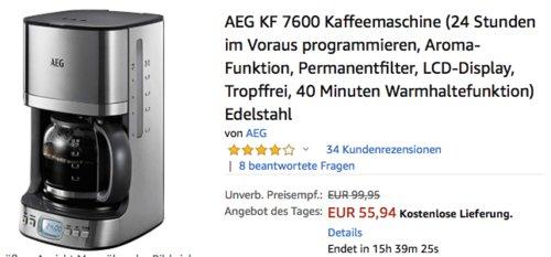 AEG KF 7600 Kaffeemaschine, 1,25 Liter - jetzt 17% billiger