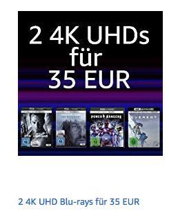 Amazon Aktion: 2 4K UHD Blu-rays für 35€ - jetzt 35% billiger
