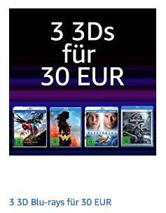 Amazon Aktion: 3 3D Blu-rays für 30 EUR - jetzt 37% billiger