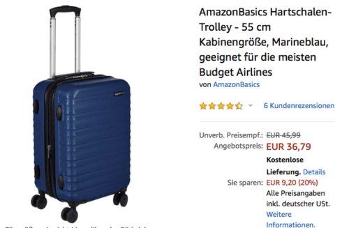 AmazonBasics Hartschalen-Trolley - 55 cm Kabinengröße, marineblau - jetzt 20% billiger
