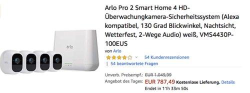 Arlo Pro 2 Smart Home 4 HD-Überwachungkamera-Sicherheitssystem - jetzt 3% billiger