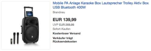 auna Streetstar 2.0-12 Mobile PA-Anlage mit 2 Mikrofonen - jetzt 22% billiger