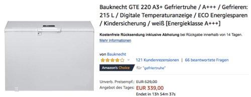 Bauknecht GTE 220 A3+ Gefriertruhe, 215 L, A+++ - jetzt 11% billiger