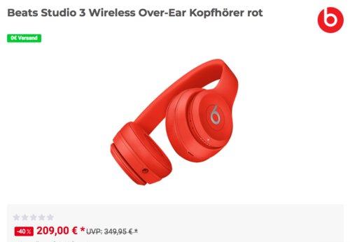 Beats Studio 3 Wireless Over-Ear Kopfhörer mit Noise-Cancelling Technologie, rot - jetzt 15% billiger