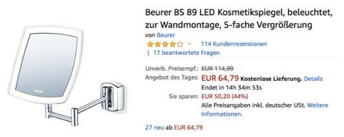 Beurer BS 89 LED Kosmetikspiegel zur Wandmontage - jetzt 20% billiger