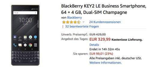 BlackBerry KEY2 LE Business Smartphone, 64 + 4 GB, Dual-SIM, champagne - jetzt 13% billiger