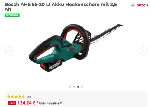 Bosch AHS 55-20 LI Akku Heckenschere inkl.  2,5 Ah und Schnelllader - jetzt 11% billiger