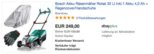 Bosch Akku-Räsenmäher Rotak 32 LI inkl.1 Akku 4,0 Ah + Regencover/Handschuhe - jetzt 17% billiger