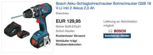 Bosch Akku-Schlagbohrschrauber GSB 18 V-LI inkl.  2 Akkus 2,0 Ah und Ladegerät - jetzt 23% billiger