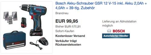 Bosch Akku-Schrauber GSR 12 V-15 (10,8-2-LI) Set inkl. Akku 2,0Ah, 4,0Ah und 39-tlg. Zubehör - jetzt 21% billiger