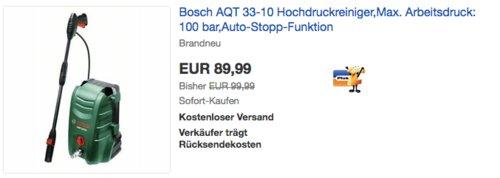 Bosch AQT 33-10 Hochdruckreiniger 100 bar - jetzt 28% billiger