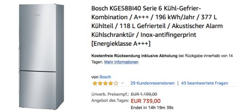 Bosch KGE58BI40 Serie 6 Kühl-Gefrier-Kombination, A+++, 191 cm - jetzt 5% billiger