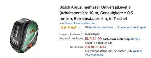 Bosch Kreuzlinienlaser UniversalLevel 3, 10 m Arbeitsbereich - jetzt 16% billiger