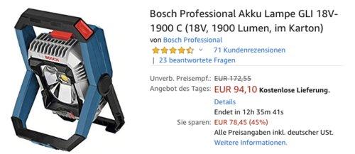Bosch Professional Akku-Baustellenlampe GLI 18V-1900 C, 1900 Lumen - jetzt 11% billiger
