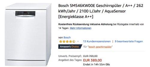 Bosch SMS46KW00E Geschirrspüler, A++, 60 cm - jetzt 6% billiger