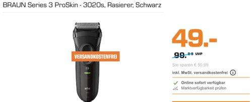 BRAUN Series 3 ProSkin - 3020s Herrenrasierer, schwarz - jetzt 15% billiger