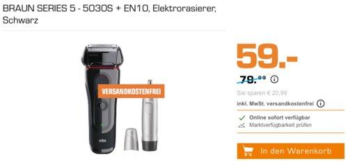 Braun Series 5 Elektrischer Rasierer 5030s inkl. Braun Ear&Nose Trimmer EN10 - jetzt 23% billiger