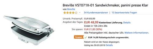 Breville VST071X-01 Sandwichmaker - jetzt 60% billiger