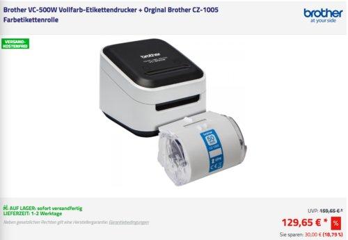 Brother VC-500W Vollfarb-Etikettendrucker inkl. Orginal Brother CZ-1005 Farbetikettenrolle - jetzt 20% billiger