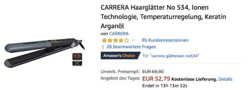 CARRERA No 534 Haarglätter mit Ionen Technologie - jetzt 22% billiger