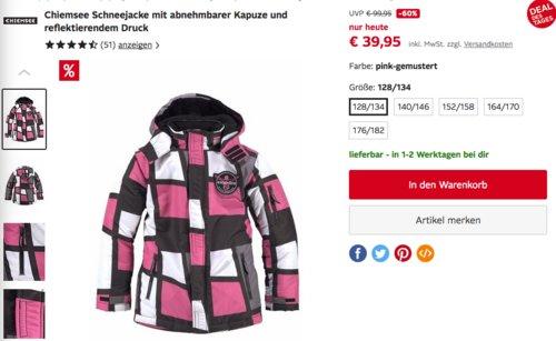 Chiemsee Mädchen Schneejacke mit abnehmbarer Kapuze , pink-gemustert - jetzt 19% billiger