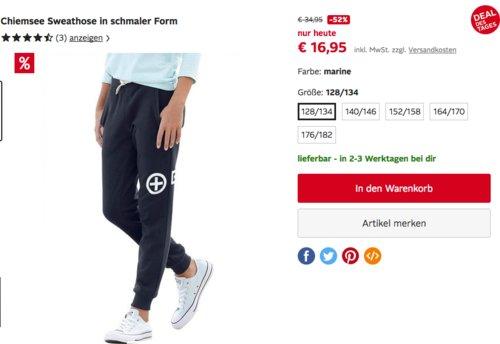 Chiemsee Mädchen Sweathose/Jogginghose in schmaler Form - jetzt 35% billiger