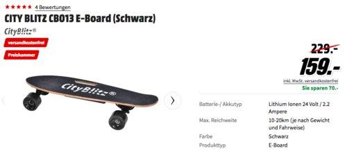 CITY BLITZ CB013 E-Skateboard mit Fernbedienung, schwarz - jetzt 31% billiger