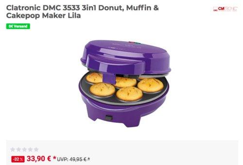Clatronic DMC 3533 3in1 Donut, Muffin & Cakepop Maker - jetzt 13% billiger