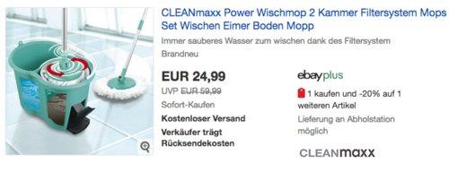 CLEANmaxx 05549 Power-Wischmopp Set , türkis - jetzt 17% billiger
