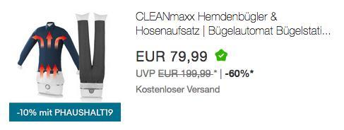 CLEANmaxx Bügelautomat Hemdenbügler & Hosenaufsatz - jetzt 10% billiger