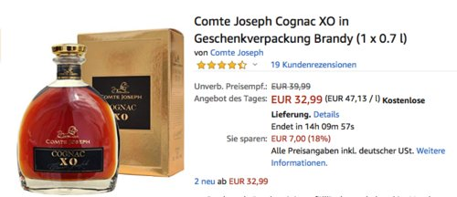 Comte Joseph Cognac XO in Geschenkverpackung (1 x 0.7 l) - jetzt 18% billiger