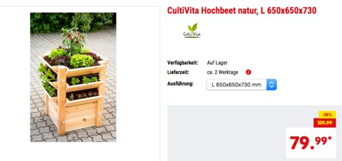 CultiVita Hochbeet L massive Douglasie, 650x650x730 mm - jetzt 38% billiger