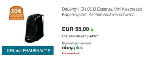 DeLonghi EN 85.B Essenza Kaffeekapselmaschine, schwarz - jetzt 23% billiger