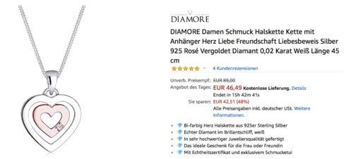 DIAMORE Damen Schmuck Halskette mit Herz-Anhänger,  Silber 925, Diamant 0,02 Karat, 45 cm lang - jetzt 42% billiger