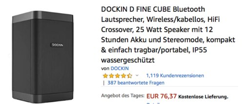 DOCKIN D FINE CUBE Bluetooth Lautsprecher, 25 Watt Speaker mit 12 Stunden Akku - jetzt 17% billiger