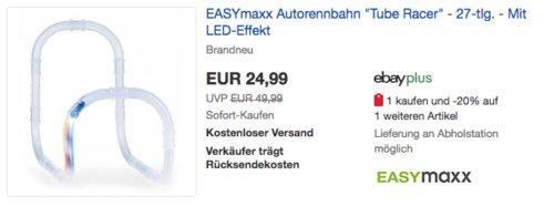 "EASYmaxx Autorennbahn ""Tube Racer"" Basisset mit LED-Effekt, 27-tlg. - jetzt 15% billiger"