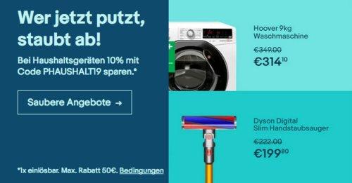 Ebay - 10% Rabatt auf ausgewählte Haushaltsgeräte: z.B. Dyson Digital Slim beutel- & kabelloser Staubsauger - jetzt 10% billiger