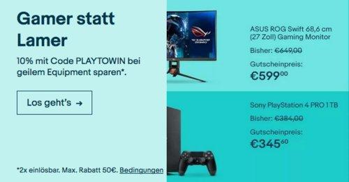 Ebay - 10% Rabatt auf ausgewählte Gaming Artikel: z.B. Sony PlayStation 4 Pro 1TB Konsole in Schwarz - jetzt 10% billiger
