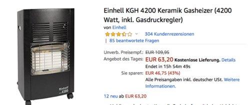 Einhell KGH 4200 Keramik Gasheizer inkl. Gasdruckregler - jetzt 28% billiger