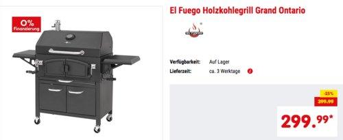 "El Fuego Holzkohlegrill ""Grand Ontario"", 81x46 cm Grillfläche - jetzt 9% billiger"