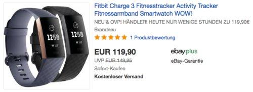 Fitbit Charge 3 Fitnesstracker in Blaugrau oder Schwarz - jetzt 8% billiger