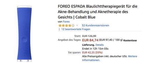 FOREO ESPADA Blaulichttherapiegerät  für die Aknetherapie, cobalt blue - jetzt 29% billiger