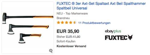FUXTEC 3er Axt-Set (Beil, Axt, Spaltaxt) - jetzt 14% billiger