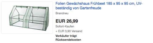 Gartenfreude Folien-Gewächshaus, 185 x 95 x 95 cm - jetzt 38% billiger