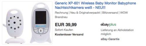 Generic XP-601Wireless Babyphone mit Nachtsichtkamera - jetzt 32% billiger