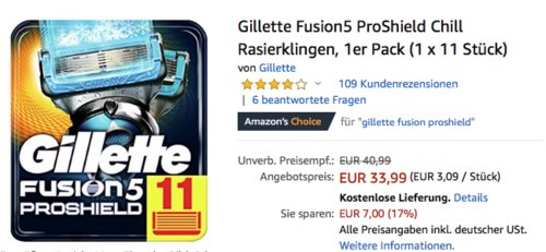 Gillette Fusion5 ProShield Chill Rasierklingen, 1 x 11 Stück - jetzt 8% billiger