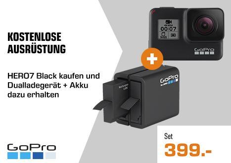GOPRO HERO7 Black Action Cam inkl. GOPRO 3661-164 Dualladegerät inkl. Akku - jetzt 8% billiger