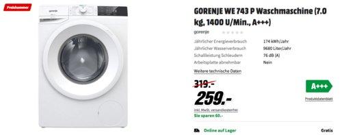 GORENJE WE743P Waschmaschine (7.0 kg, 1400 U/Min., A+++) - jetzt 19% billiger